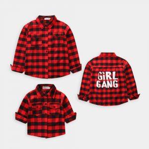 camasa pentru fete cu maneci lungi si carouri