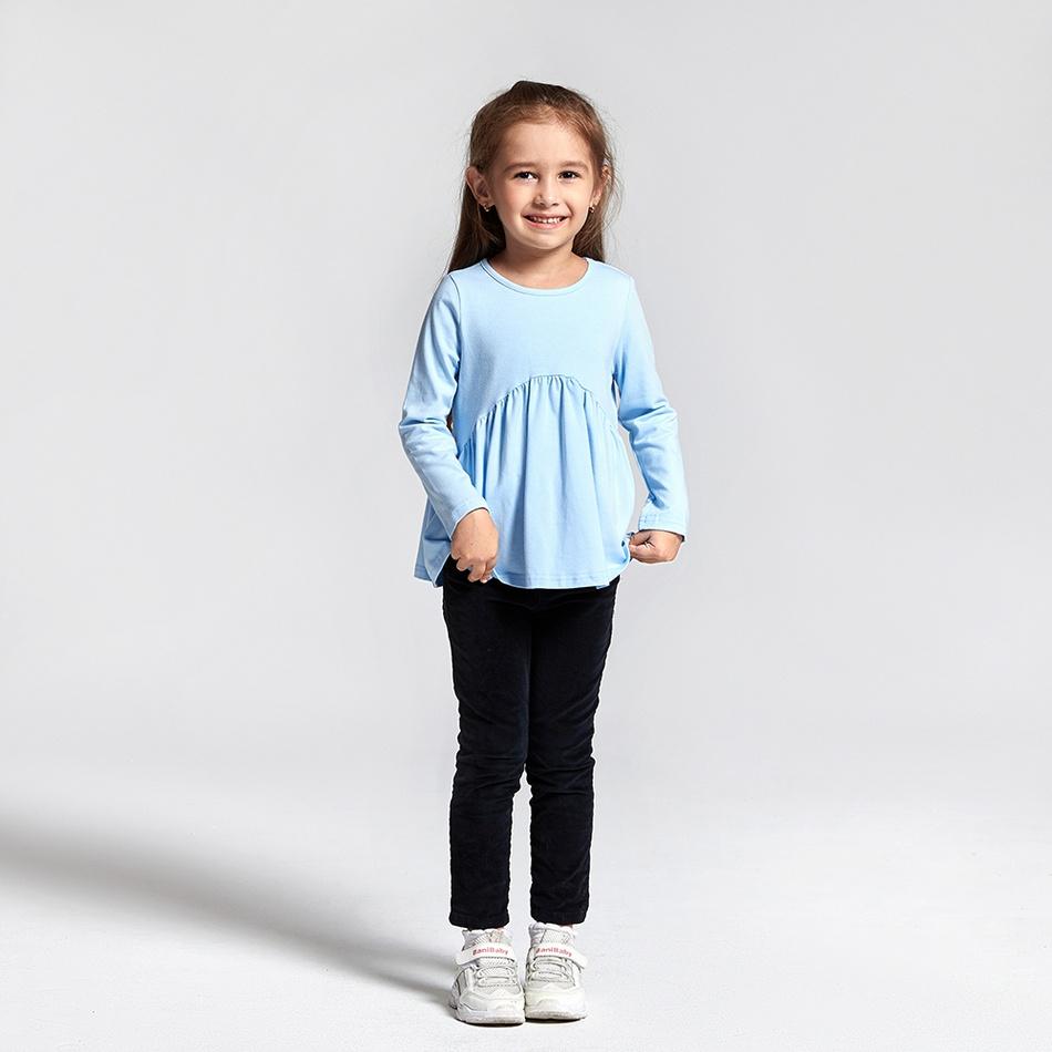 bluza pentru fetite cu maneci lungi culoare albastru deschis