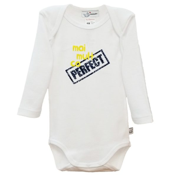 Body bebe perfect alb, cu maneca lunga si capse
