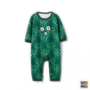 Pijama Dinozaur bebe cu maneca lunga si capse