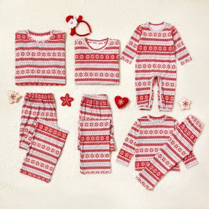 Pijama Fulg Intreaga pentru Bebelusi cu Rosu si Alb
