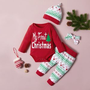 set bebelusi nou nscuti format din body pantaloni bentita si caciula cu imprimeu de craciun