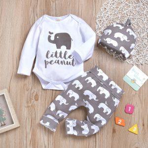 set bebelusi format din body pantaloni si caciula cu imprimeu elefanti