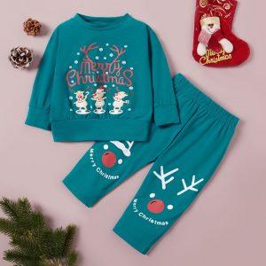 set pentru bebe format din bluza si pantaloni cu tematica de craciun