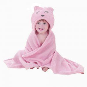 Prosop de baie urs cu gluga si urechi pentru fetite