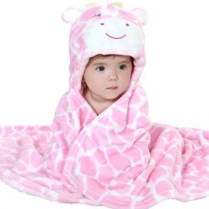 Prosop de baie girafa cu gluga si urechi pentru fetite