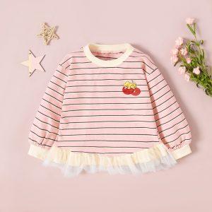 bluza cu maneci lungi cu imprimeu cirese pentru fete