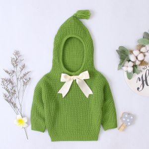 pulover cu gluga si fundita verde cu maneci lungi tricotat