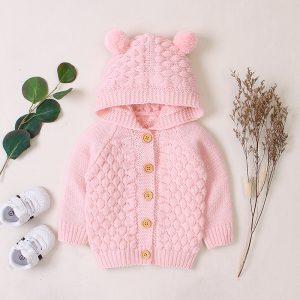 bluza tricotata culoare roz cu gluga cu urechi pentru fetite