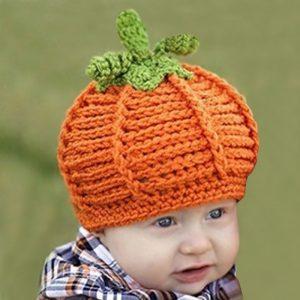 Caciula Dovleac fetite si baieti cu verde si portocaliu