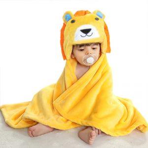 Prosop de baie leu cu urechiuse pentru copii