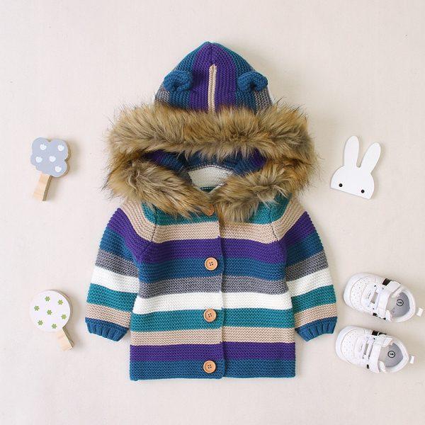 pulover cu blanita si gluga si maneci lungi pentru bebelusi