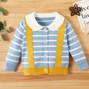 pulover casual pentru bebe culoare albastru cu dungi cu guler si bretele