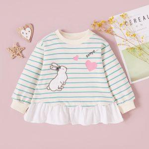 bluza in dungi cu maneci lungi si imprimeu haios pentru fetite