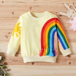 bluza cu maneci lungi si imprimeu pentru fetite