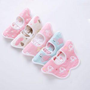 Set 5 bavete bumbac pentru bebelusi