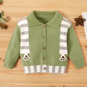 pulover verde cu imprimeu in dungi pentru bebe baieti
