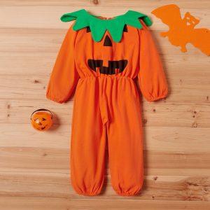 salopeta de halloween cu imprimeu bostan pentru bebelusi