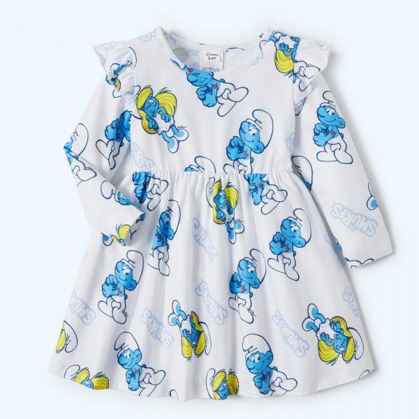 rochie scurta cu imprimeu strumfi pentru fetite
