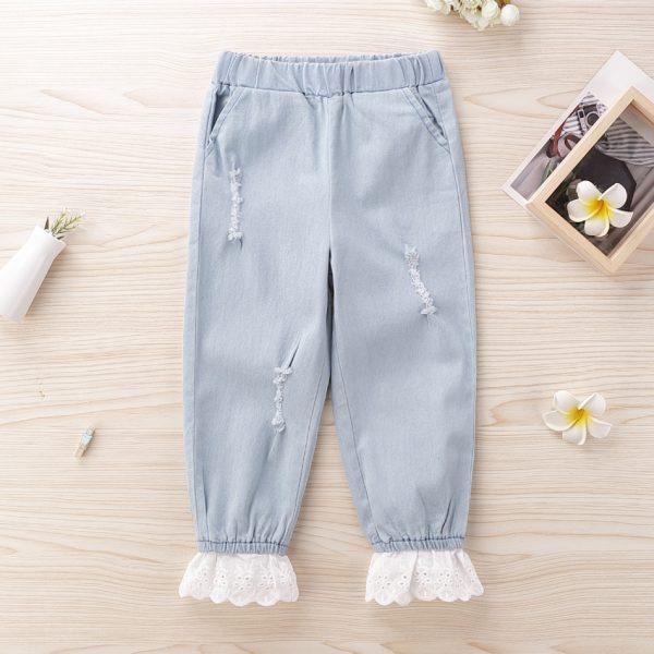 pantaloni lungi cu volane pentru fetite