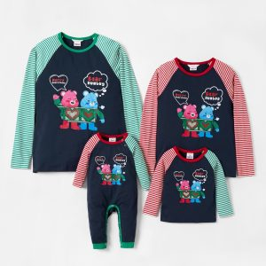 bluza unisex pentru copii cu imprimeu in dungi si ursuleti